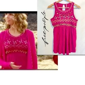 Free People Pink Embroidered Beaded Tank Top